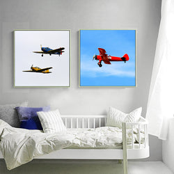 Modern-Vintage-Airplane-Biplane-Wall-Art-Poster-Canvas-Picture-Prints