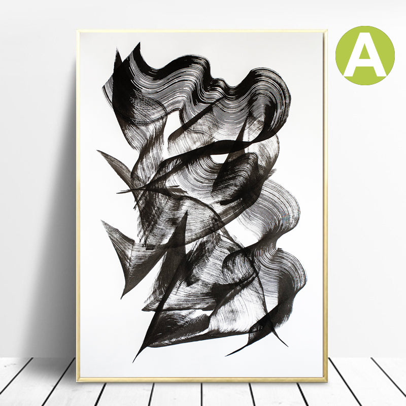 Black-and-White-Abstract-Calligraphy-Wall-Art-Poster-Print-on-Canvas