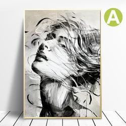 Nordic-Black-White-Ink-Woman-Female-Figure-Wall-Art-Poster-&-Prints