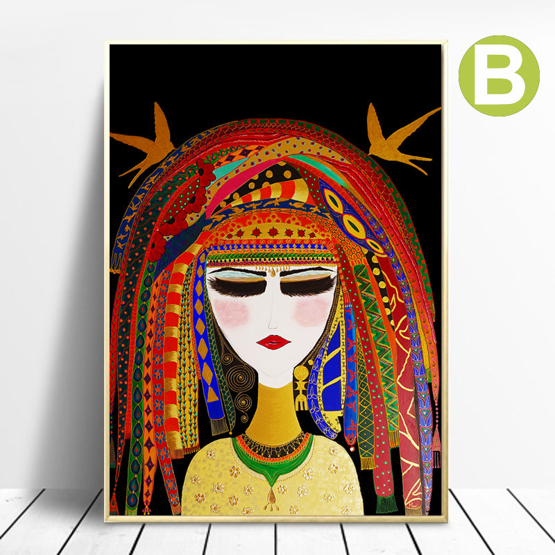 Wall-Art-Poster-Graffiti-Painting-African-Women-Portrait-Canvas-Print