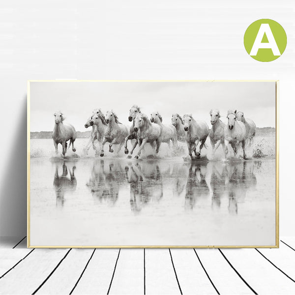 Black-and-White-Horse-Pictures-Farmhouse-Animal-Canvas-Wall-Art-Poster