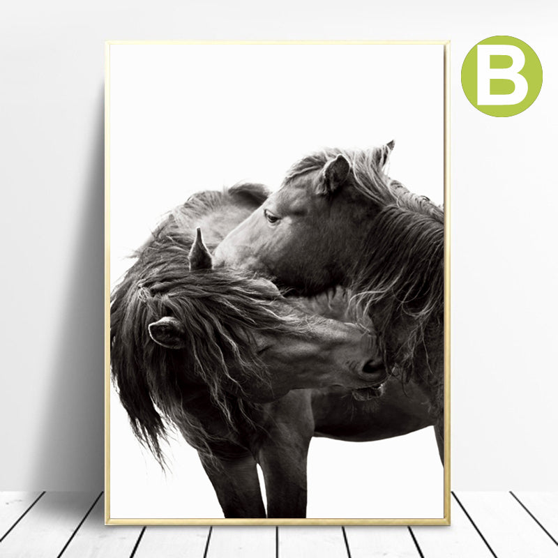Black-And-White-Horse-Wall-Art-Poster-Wild-Animal-Artwork-Print-Decor