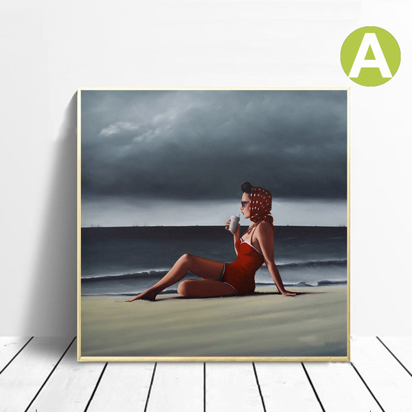 Wall-Art-Poster-Landscape-Artwork-Beach-Sexy-Women-Facing-the-Sea