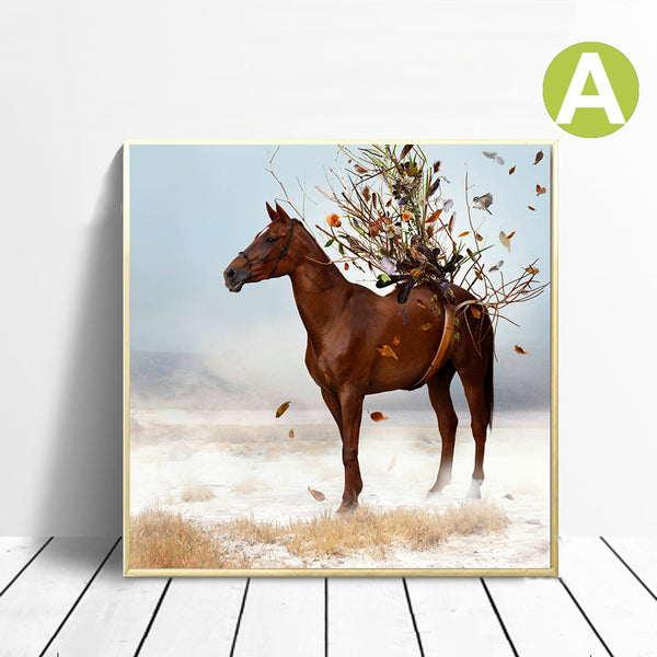 Wall-Art-Poster-Brown-Horse-Wearing-a-Flower-Artwork-Canvas-Printing