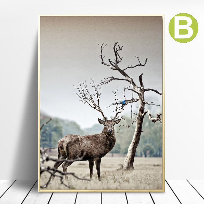 Nordic-Forest-Landscape-Elk-Wall-Art-Poster-Canvas-Printing-Home-Decor