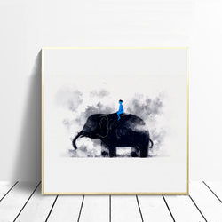 Watercolor-Blue-Man-Sitting-on-the-Elephant-Animal-Wall-Art-Decor