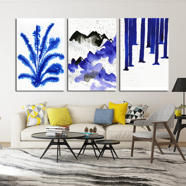 Watercolor-Landscape-Blue-Art-Plant-Mountain-Forest-Wall-Decoration