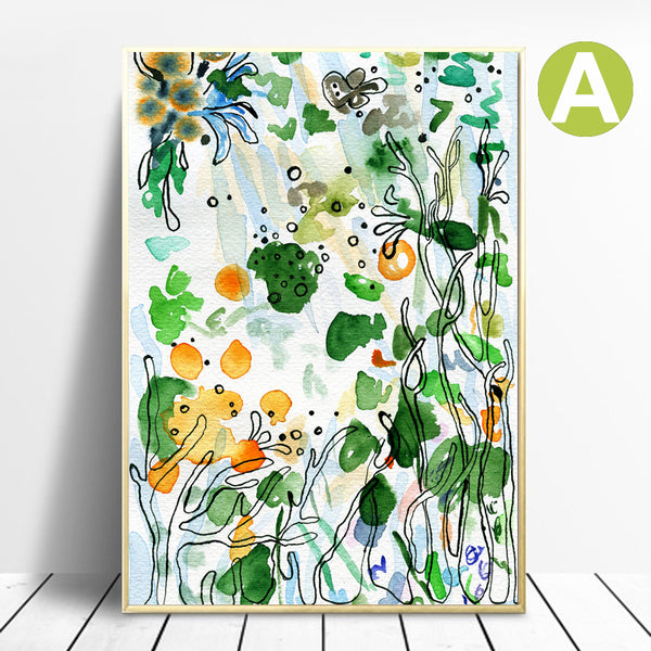 Watercolor-Modern-Plant-Leaves-Wall-Art-Posters-Green-Canvas-Printing