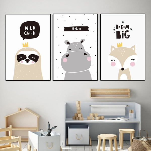 Nordic-Baby-Nursery-Lovely-Animal-Hippo-Fox-Wall-Art-Poster-on-Canvas