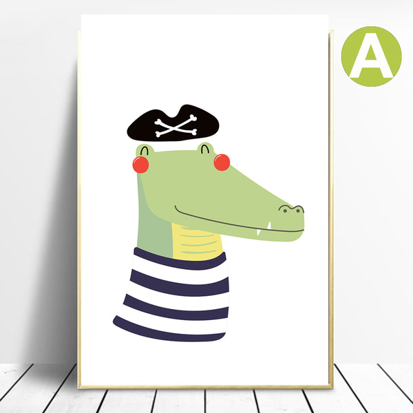 Lovely-Animal-Crocodile-Giraffe-Canvas-Poster-Nursery-Wall-Art-Decor