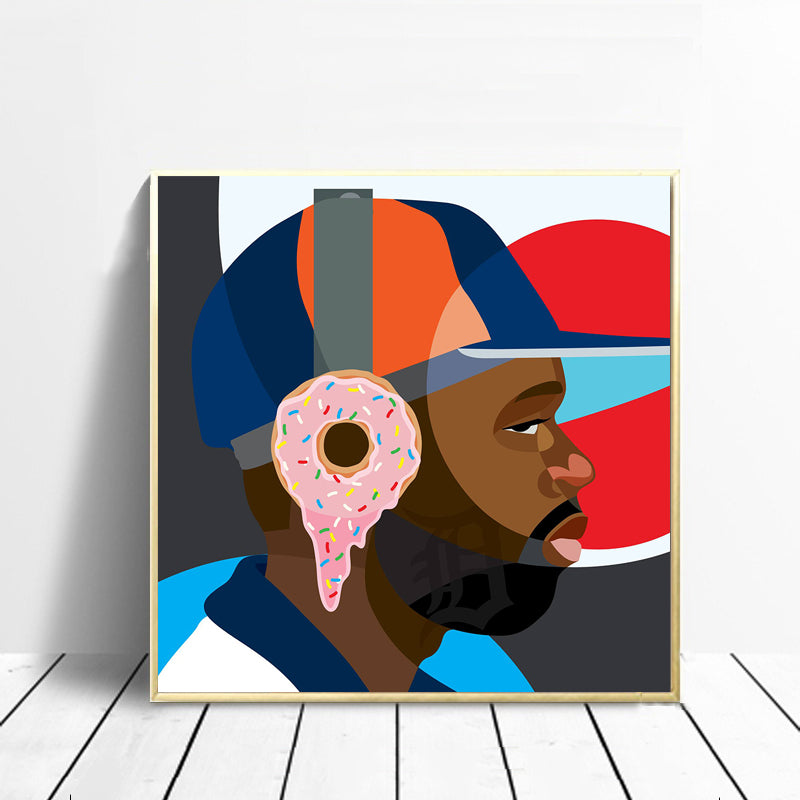 Portrait-Man-with-donuts-on-ears-Colorful-Wall-Art-Poster-Canvas-Print