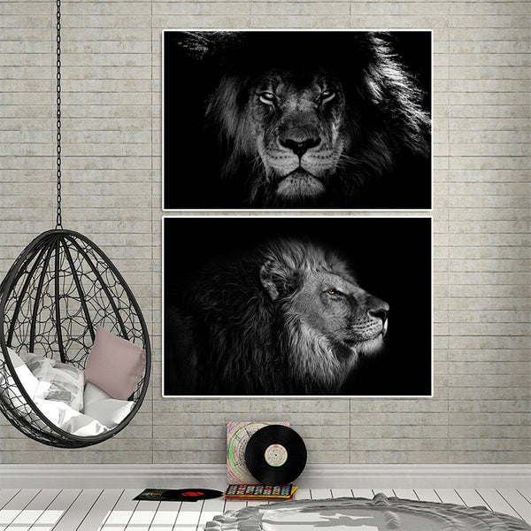 Lion-Black-&-White-Animal-Artwork-Wall-Art-Poster-Canvas-Printing