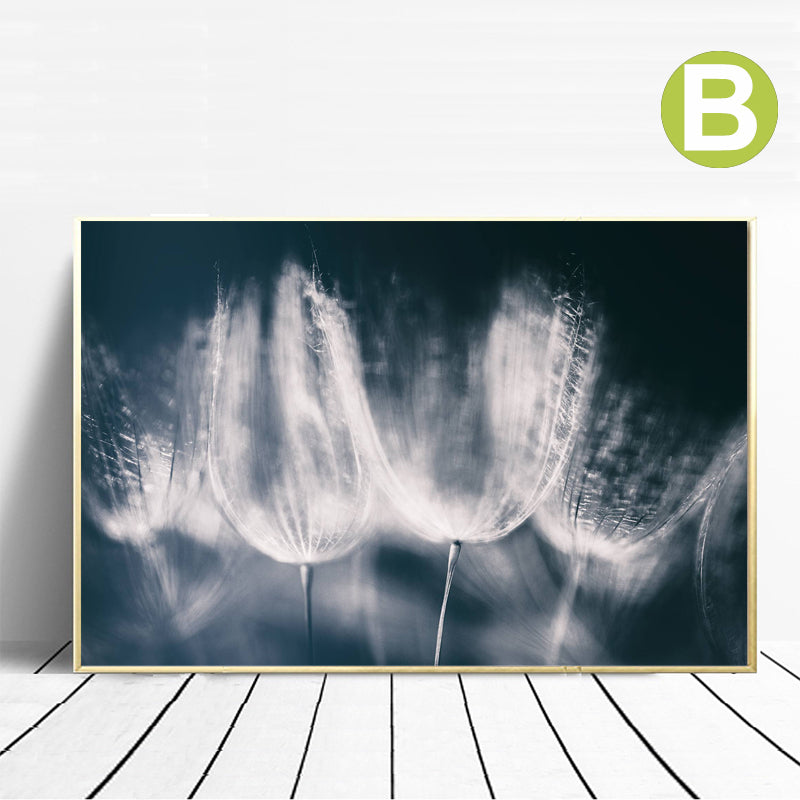 Nordic-Wall-Art-Poster-Blue-Dandelion-Horse-Rays-in-the-Forest-Canvas