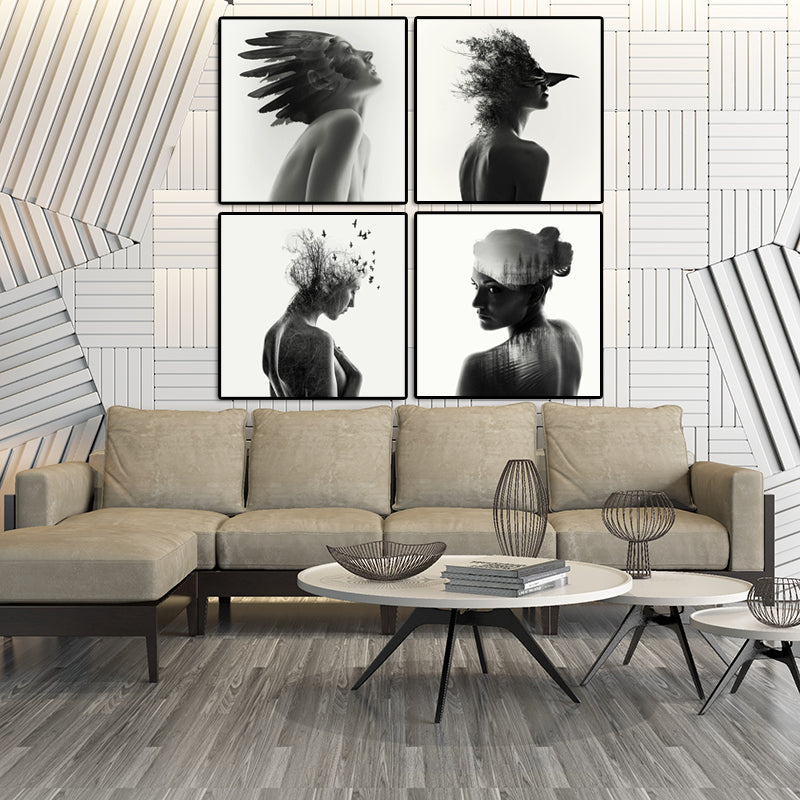 Black-and-White-Wall-Art-Poster-Print-Feather-Women-Tree-on-Canvas