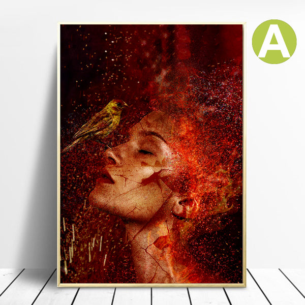 Modern-Canvas-Painting-Print-Flowers-Bird-Woman-Wall-Art-Poster-Decor