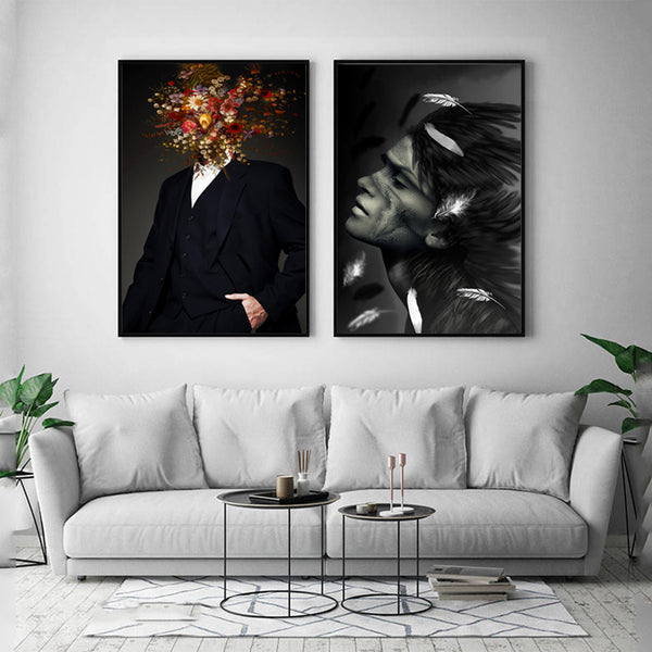 Black-&-White-Flowers-Men-Feather-Women-Wall-Art-Canvas-Photo-Print