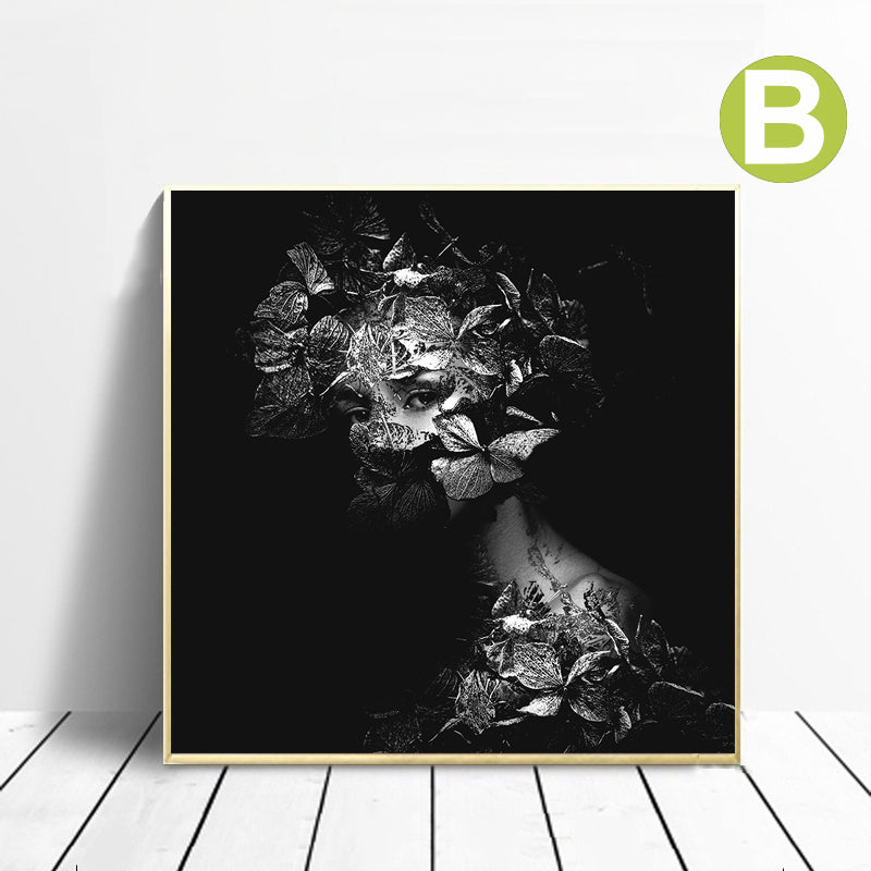Poster-Black-White-Butterfly-Women-Wall-Art-Canvas-Printing-Home-Decor