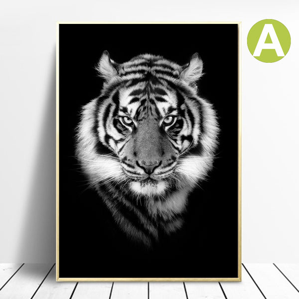 Black-White-Wildlife-Animal-Tiger-Lion-Art-Canvas-Poster-Wall-Decor