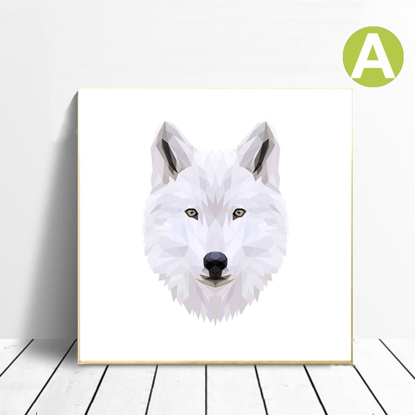 White-Animal-Wolf-Lion-Bunny-Owl-Art-Canvas-Print-Wall-Poster-Decor