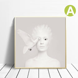Modern-Artwork-Poster-White-Pigeon-Butterfly-Women-Wall-Art-Canvas