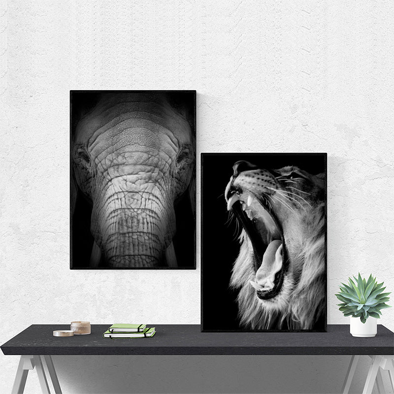 Black-and-White-Roaring-Lion-Elephant-Animal-Wall-Art-Canvas-Poster
