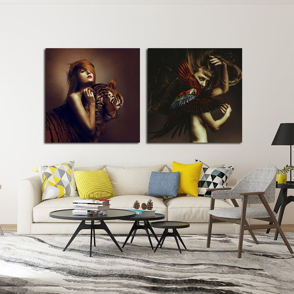 Women-and-Tiger-Artwork-Wall-Poster-Art-Print-on-Canvas-Home-Decor