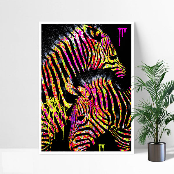 Colorful-Artwork-Print-Poster-Horse-Zebra-Wildlife-Wall-Art-Canvas
