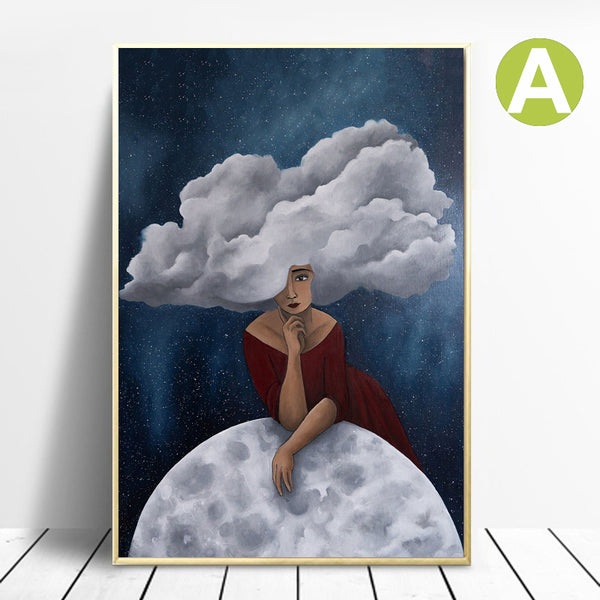 Nordic-Women-Clouds-Blue-Art-Canvas-Painting-Print-Wall-Art-Poster