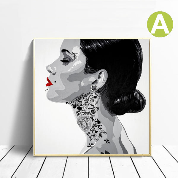 Black-And-White-Portraiture-Women-Art-Canvas-Printing-Wall-Art-Poster