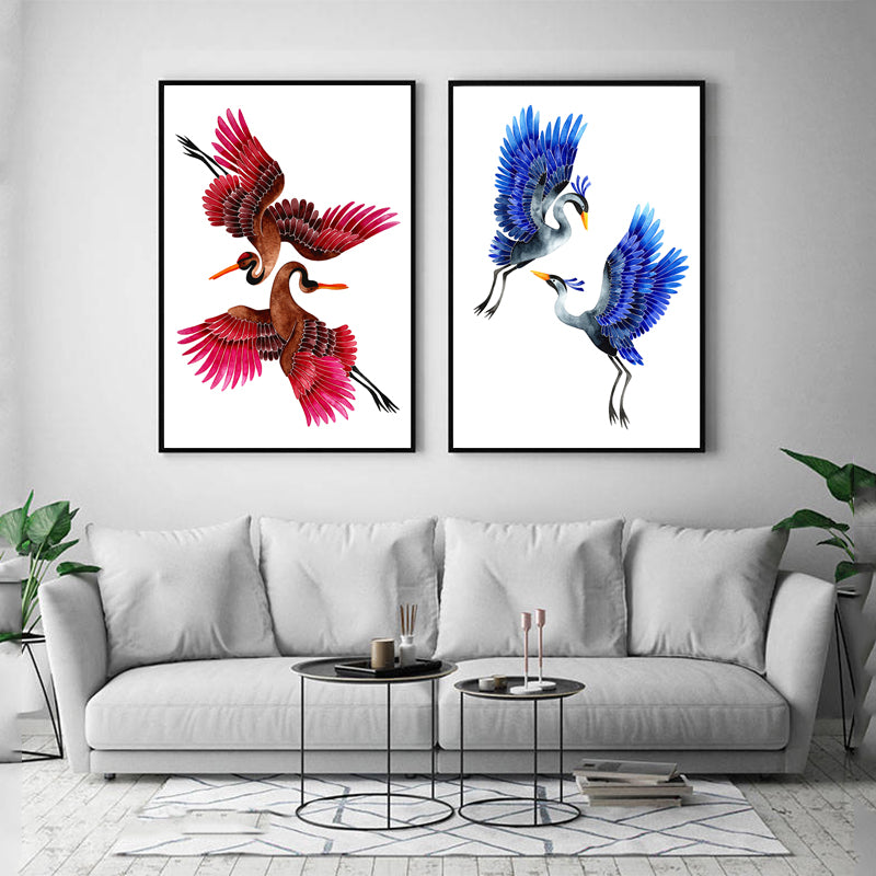 Nordic-The-Pink-Blue-Cranes-Animal-Wall-Art-Canvas-Print-Wall-Poster