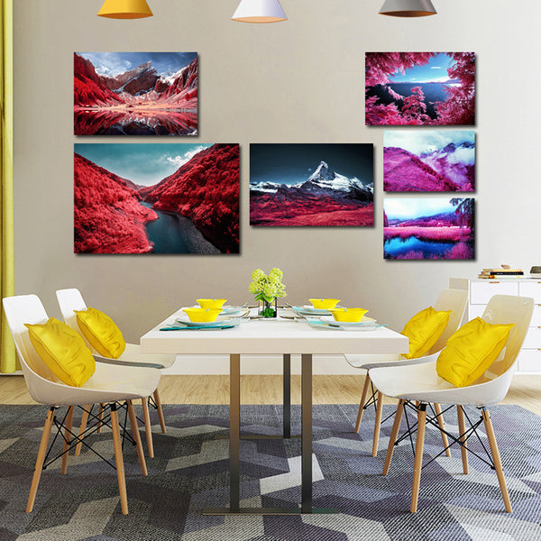 Landscape Pink Mountain Poster Decor Art Canvas