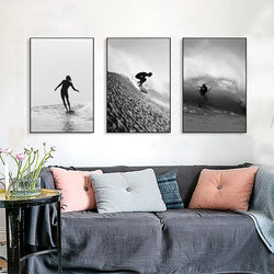Black-and-White-Surfing-Posters-Art-Prints-Canvas-Wall-Decoration