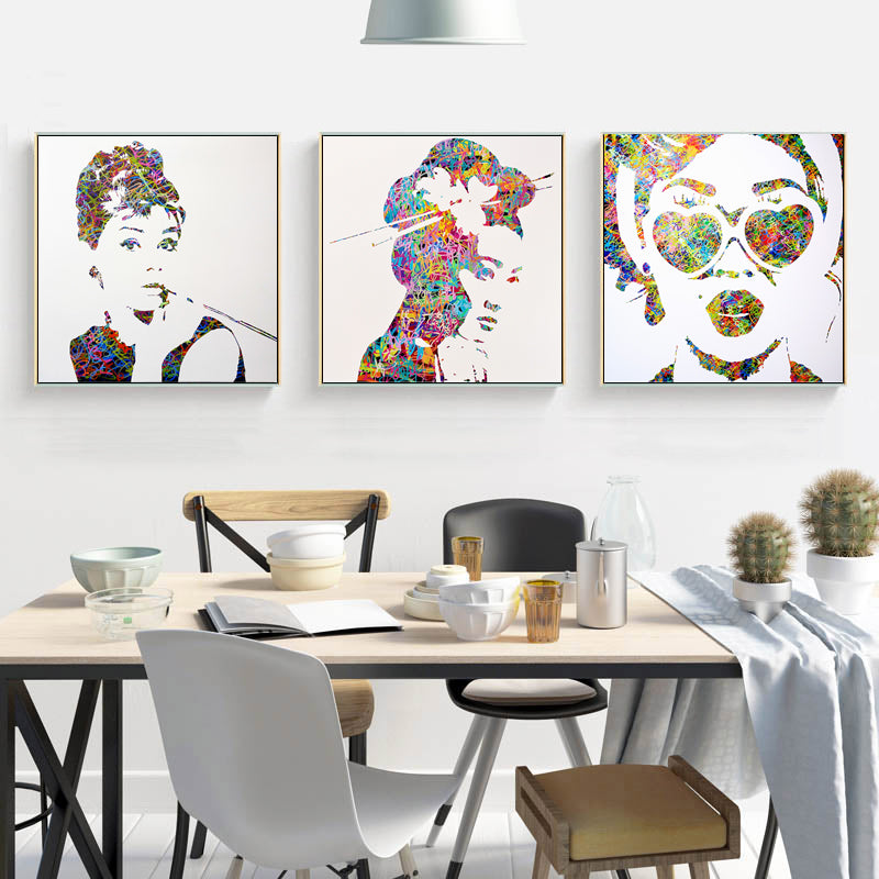 Colorful-Graffiti-Print-Portrait-Audrey-Hepburn-Wall-Art-Canvas-Poster