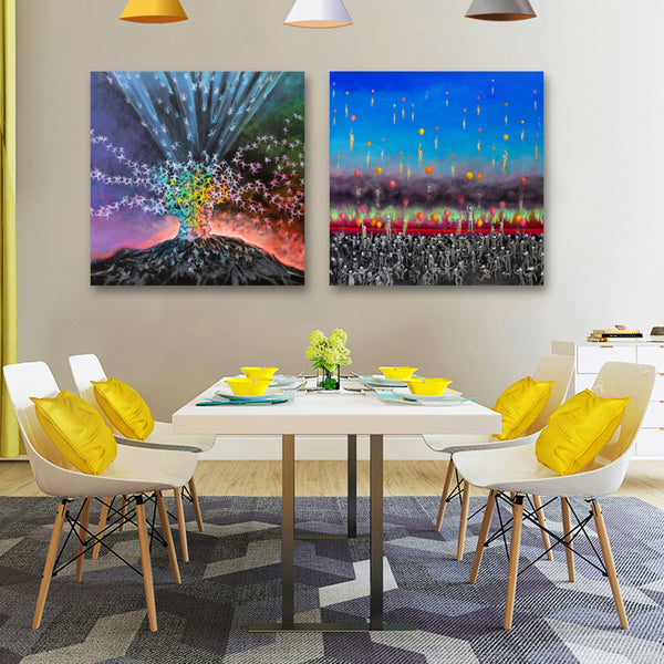 Modern Abstract Volcano Wall Art Canvas
