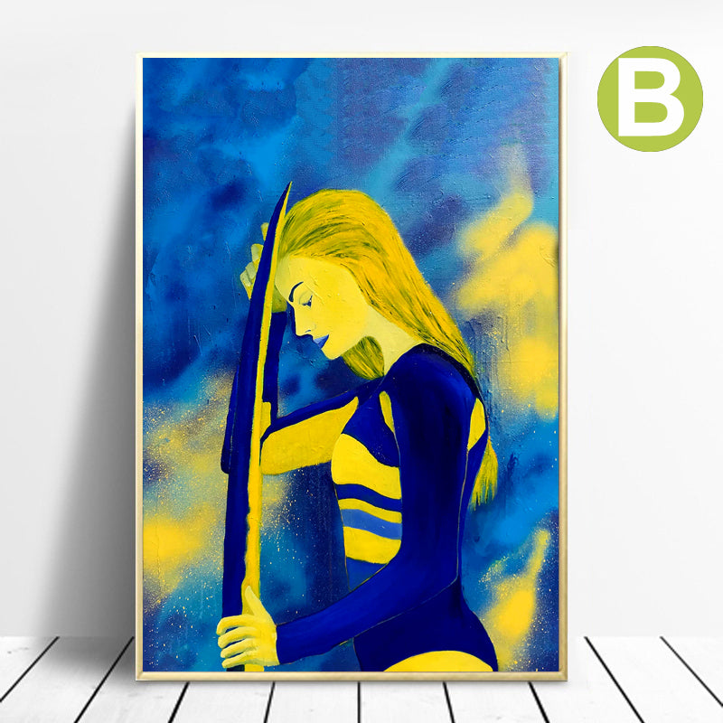 Modern-Graffiti-Wall-Art-Poster-Surf-Woman-Canvas-Printing-Home-Decor
