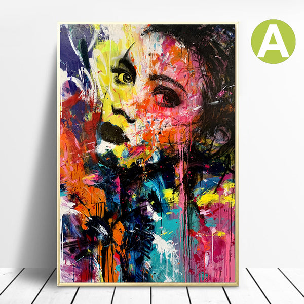 Banksy-Women-Portrait-Graffiti-Canvas-Artwork-Print-Wall-Art-Poster