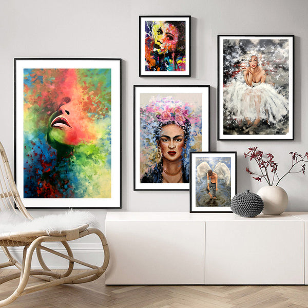 Graffiti-Women-Frida-Portrait-Art-Artwork-Print-Canvas-Wall-Decoration