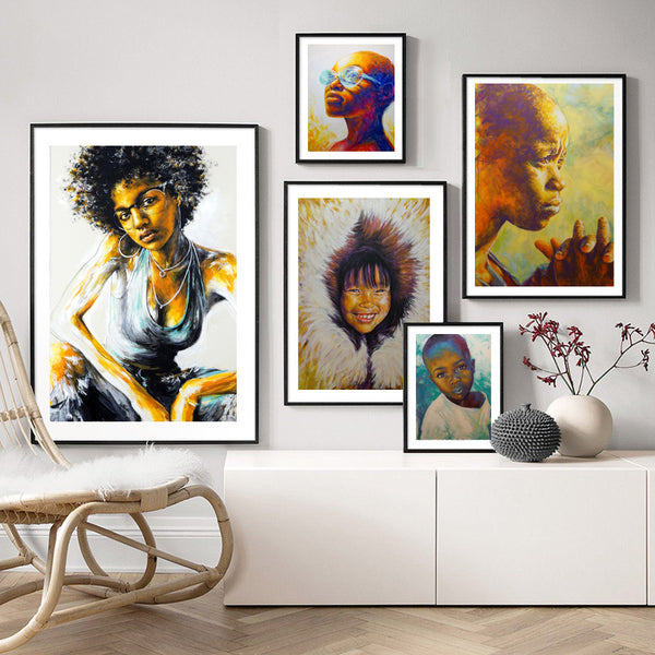 Graffiti-African-Boy-Portrait-Wall-Art-Poster-Canvas-Digital-Printing