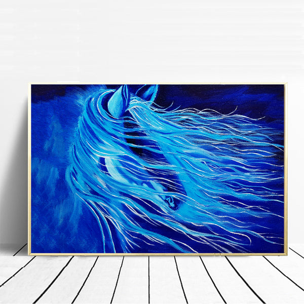 Nordic-Blue-Art-Horse-Animal-Canvas-Painting-Print-Wall-Poster