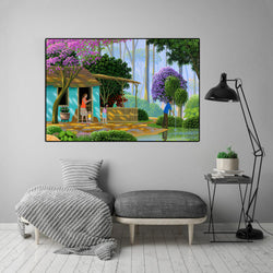 Landsape-Beautiful-Scenery-Lakeside-Cottage-Art-Canvas-Wall-Poster