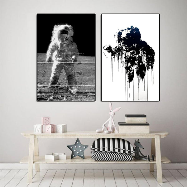 Astronaut-Stripes-Pictures-Wall-Art-Space-Decor-Poster-Canvas-Print