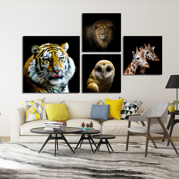 Wild-Animal-Lion-Tiger-Owl-Canvas-Poster-Art-Print-Black-And-White