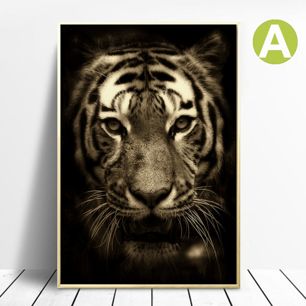Lion-Roar-Safari-Animal-Painting-Art-Canvas-Digital-Print-Black-White