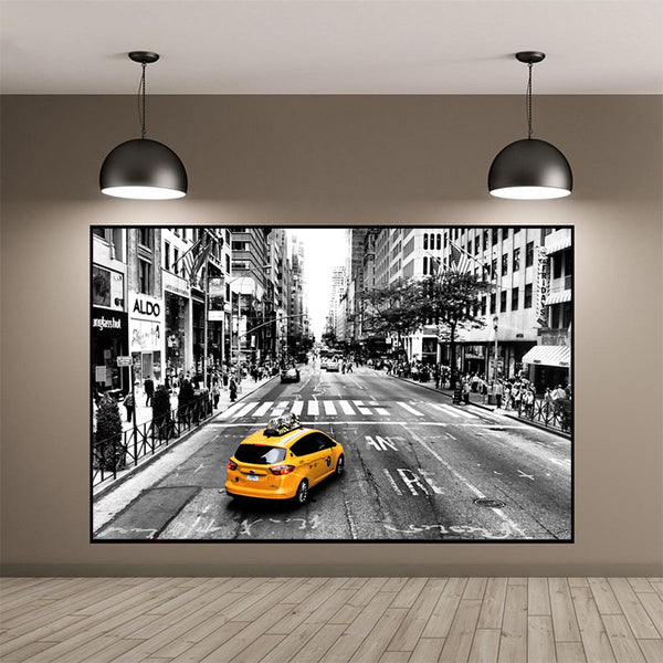 Landscape-Black-&-White-New-York-City-Scene-Wall-Art-Canvas-Poster
