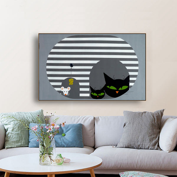 Nordic-Wall-Canvas-Print-Cat's-Family-Animal-Art-Poster-Modern-Decor