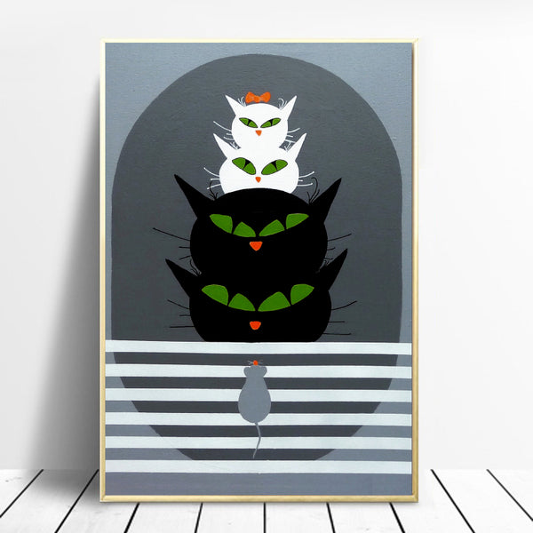 Nordic-Wall-Art-Poster-Cat's-Family-Kitten-Animal-Canvas-Digital-Print