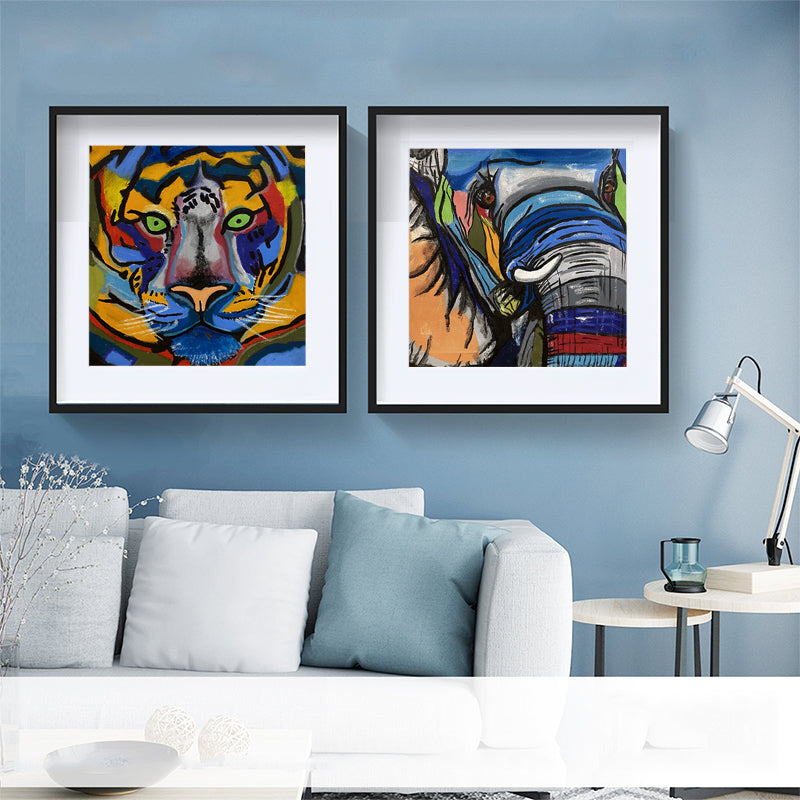 Wild-Animal-Tiger-Elephant-Art-Canvas-Wall-Art-Poster-Digital-Printing