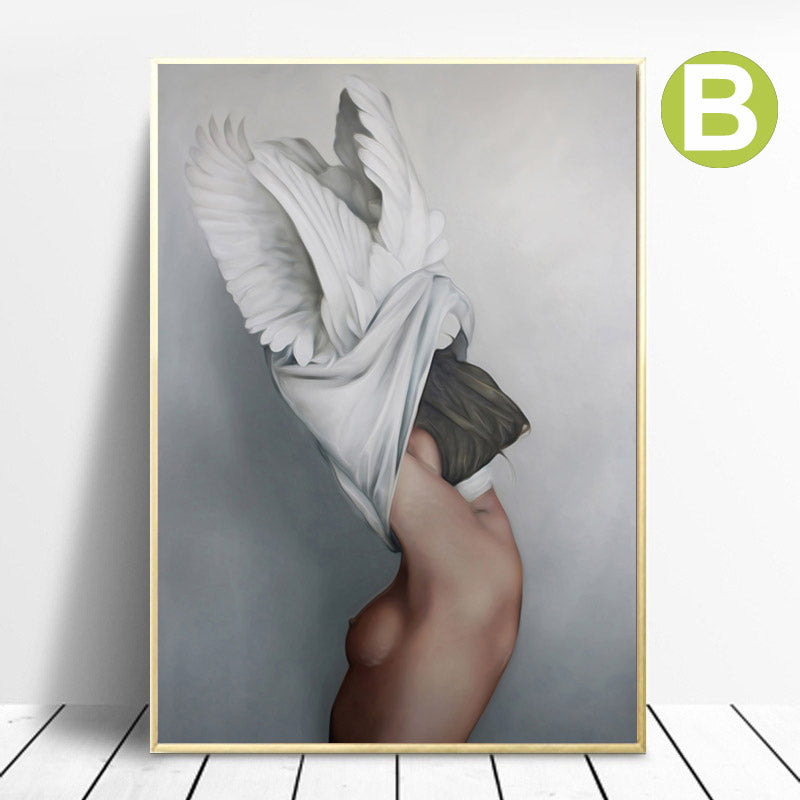 Women-Body-Sexy-Girls-Canvas-Painting-Feather-Artwork-Wall-Art-Prints