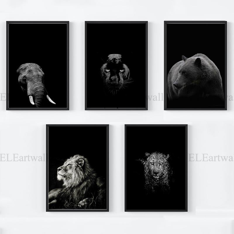 Black-And-White-Animal-Wall-Art-Canvas-Poster-Prints-Elephant-Lion