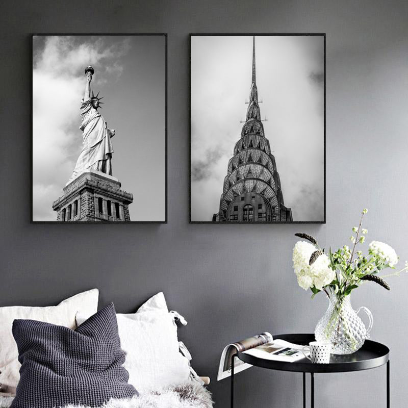 Canvas-Painting-USA-Architecture-Statue-Of-Liberty-Chrysler-Building